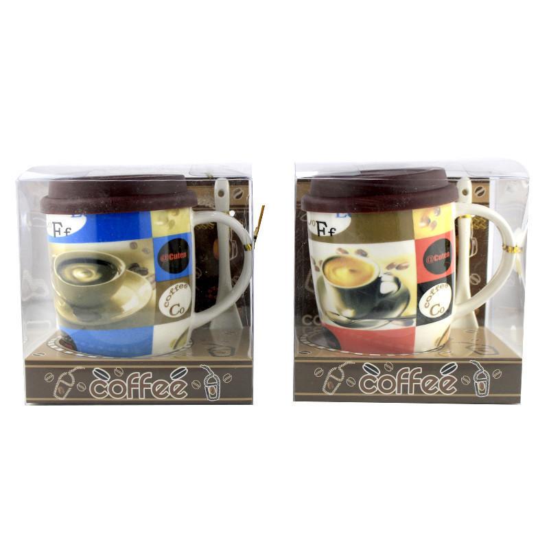 Чашка с силиконовой крышкой и ложкой Cup of Coffee