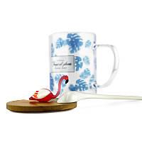 Чашка для чая с деревянной крышкой и ложечкой Flamingo, фото 1