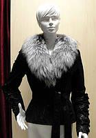 Кожаная куртка женская чернобурка
