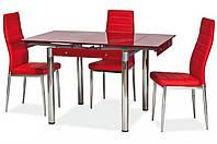 Стеклянный раскладной стол Моне, красный