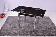 Стеклянный раскладной стол Мадрид, черный