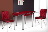 Стеклянный раскладной стол Франческа, бордовый