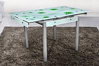 Стеклянный раскладной стол Франческа, бело-зеленый