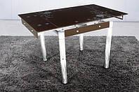 Стеклянный раскладной стол Франческа, коричневый