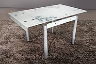 Стеклянный раскладной стол Франческа, молочный