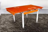 Стеклянный раскладной стол Франческа, оранжевый