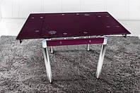 Стеклянный раскладной стол Франческа, баклажан