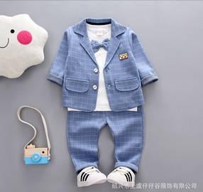 Нарядный костюм тройка на мальчика  джентельмен голубой  в  клетку 3 года