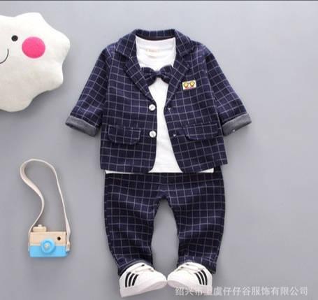 Нарядный костюм тройка на мальчика  джентельмен синий в клетку 4 года, фото 2