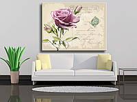 """Картины на холсте """"Ретро-открытка с розой ручной работы"""""""