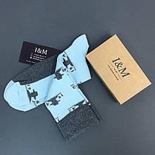 Носки I&M Craft серо-голубые с шляпами (070159)