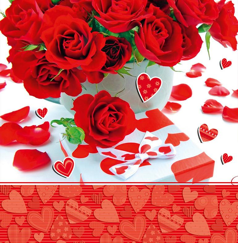 """Подарочные пакеты """"Красные розы и сердца"""" 23 х 24 см  (6 шт./уп.)"""