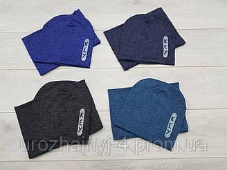 Шапка и хомут(снуд) для мальчиков подкладка х/б р50-52. 5 шт в упаковке.