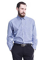 Мужская классическая рубашка  сине-белую мелкую клетку голубую полоску