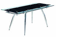 Стеклянный раскладной стол Чикаго2, черный