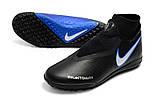 Сороконожки Nike Phantom Vision Elite DF TF black/blue, фото 2