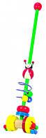 """Детская деревянная каталка """"Божья коровка"""" на палочке (игрушка для улицы 12 х 6 х 54 см) Bino"""