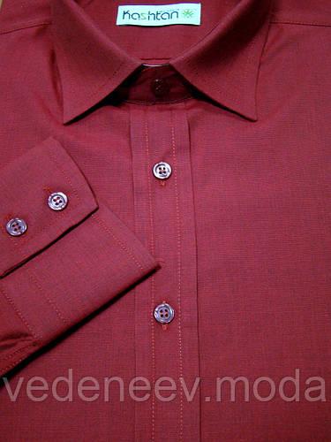 Бордовая приталенная рубашка