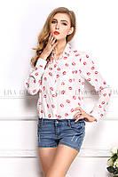 Блузка женская / рубашка с губками белая