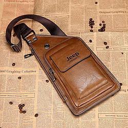 Сумка-рюкзак на одно плечо в стиле Jeep Buluo коричневая