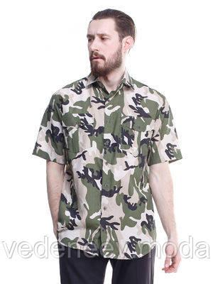Рубашка в стиле миллитари, камуфляж с коротким рукавом