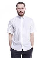 Белая приталенная мужская рубашка с коротким рукавом