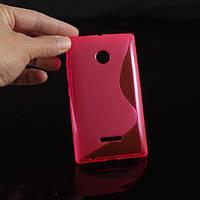 Чехол накладка бампер для Microsoft Lumia 435 розовый