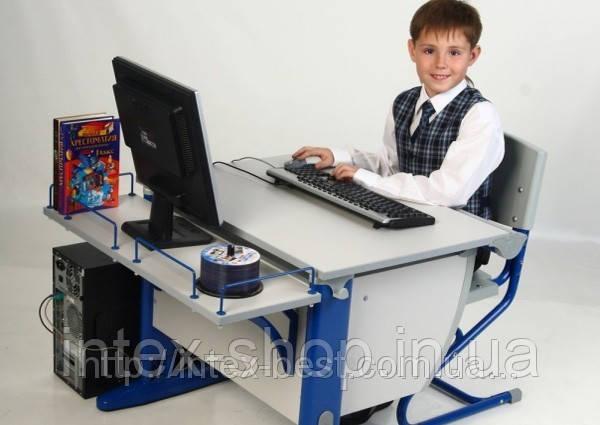 Внимание ! Детская стол-парта(ортопед) Дэми СУТ.12-02 (14-02) + стул Деми СУТ 01. серый / синий., фото 2