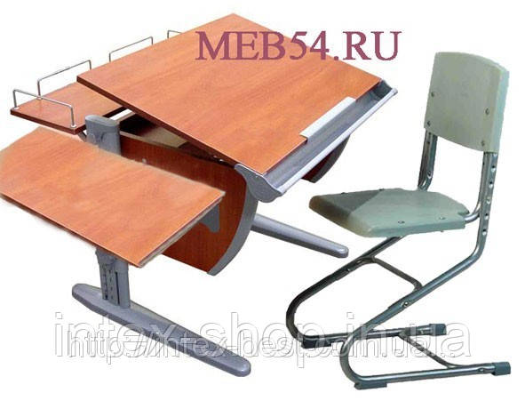 Растущая стол-парта(ортопед) Дэми СУТ.12-02 (14-02) +стул Деми СУТ 01. кальвадос / серый.