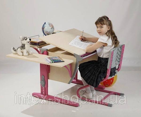 Растущая стол-парта(ортопед) Дэми СУТ.12-02 (14-02) +стул Деми СУТ 01. клен / розовый.