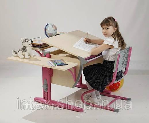Растущая стол-парта(ортопед) Дэми СУТ.12-02 (14-02) +стул Деми СУТ 01. клен / розовый., фото 2