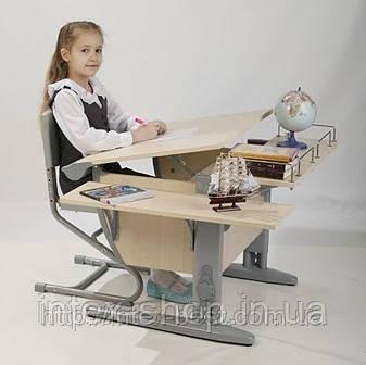 Растущая стол-парта(ортопед) Дэми СУТ.12-02 (14-02) +стул Деми СУТ 01. клен / серый.