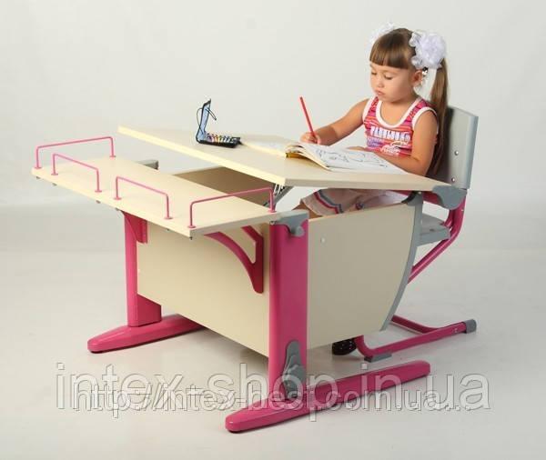 Растущая деревянная парта Дэми СУТ.12-01 (14-01) + стул Деми СУТ 01.клен / розовый Гарантия 3 года