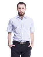 Мужская рубашка белая в полоску с коротким рукавом