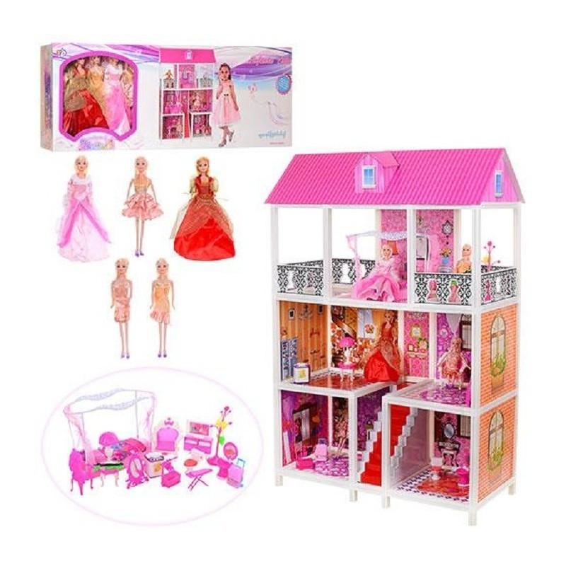 Домик 66885 94-141,5-136см 5 кукол 3 этажа