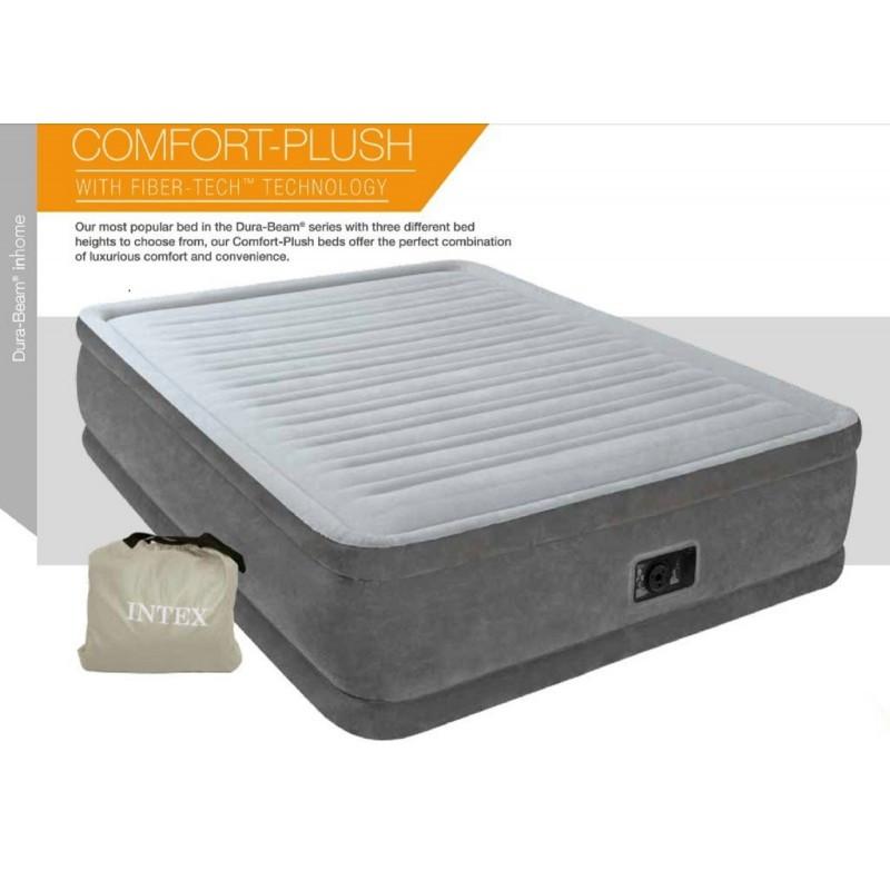 Двуспальная надувная кровать Intex 64418 203х152х56 см велюровая со встроенным насосом 220V/В