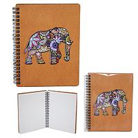 Блокнот с гравировкой Слон-Цветной+Вышивка 145*180мм,50листов\линия