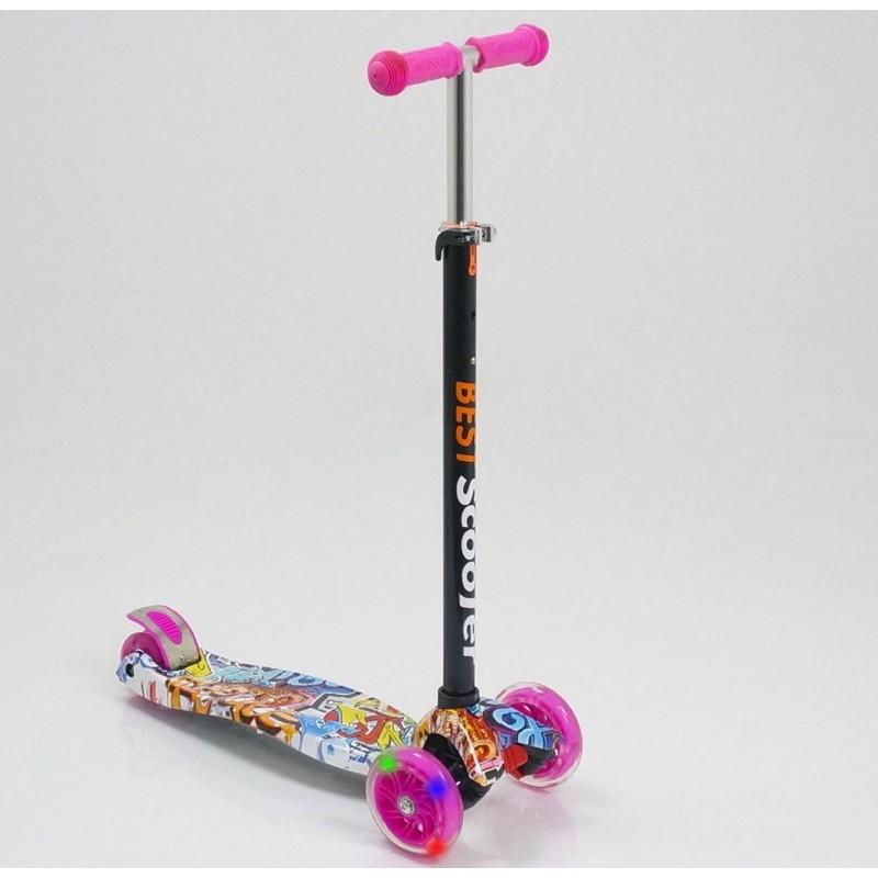 Самокат кикборд Maxi Best Scooter А 24651/779-1395 со светящимися колесами