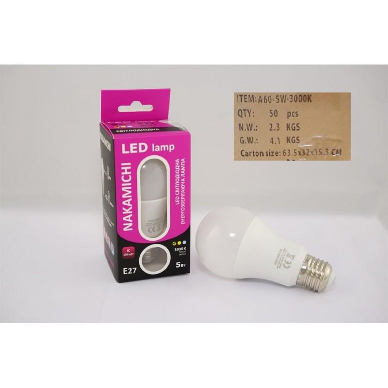 Светодиодная энергозберегающая LED лампочка E27 5W 3000 K (SLA A60-05b 3000) ЯЩИК 50шт