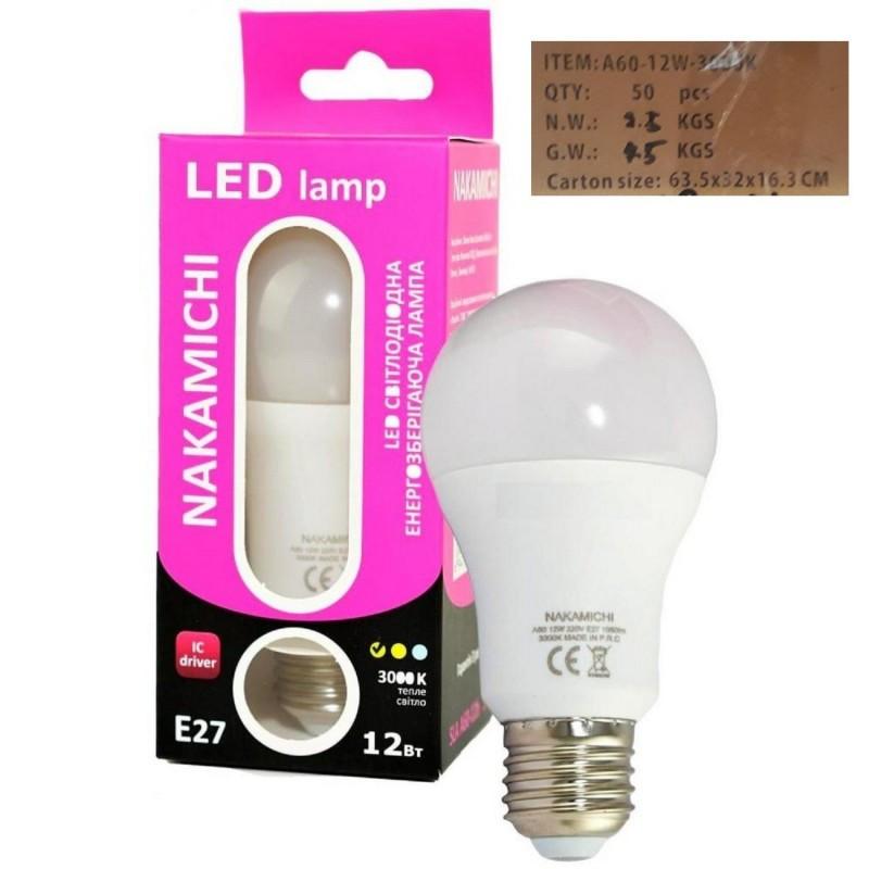 Светодиодная энергозберегающая LED лампочка E27 12W 3000 K (SLA A60-12b 3000) ЯЩИК 50шт