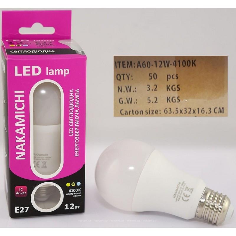 Светодиодная энергозберегающая LED лампочка E27 12W 4100 K (SLA A60-12b 4100) ЯЩИК 50шт