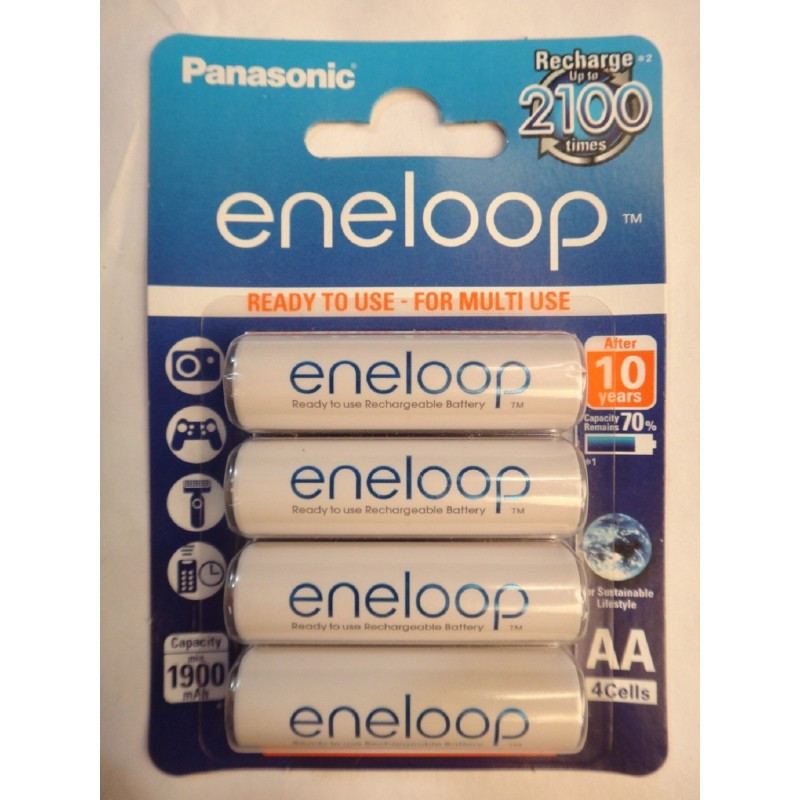 Аккумулятор AA Panasonic eneloop HR06 1,2V 1900mAh (up to 2100) упаковка - 4шт pre-charged rechargeable