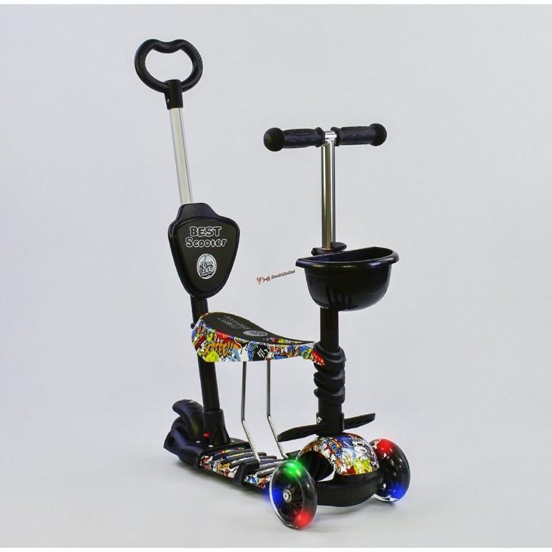 """Самокат """"Абстракция"""" Best Scooter 5 в 1 34760 черный с подсветкой колес"""