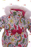 Зимний комбез на флисе малиновый с радугой, фото 1