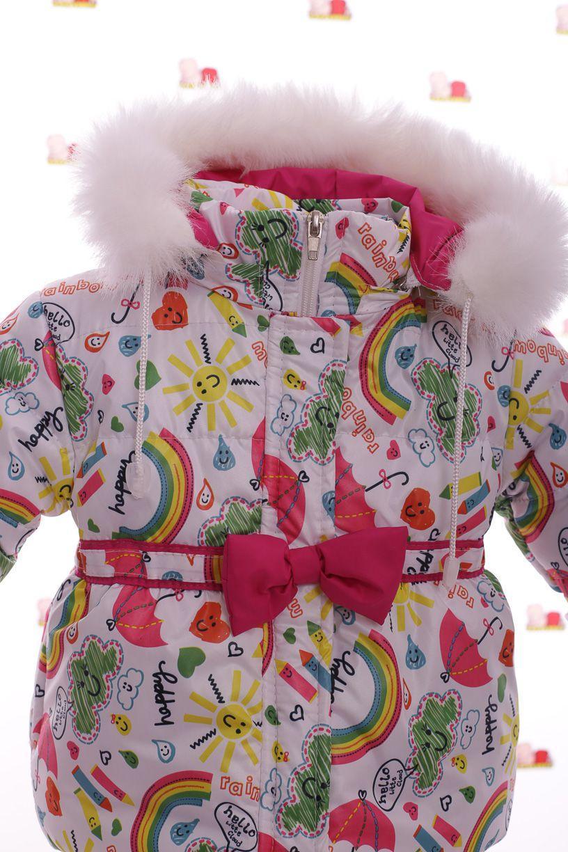 Зимний комбез на флисе малиновый с радугой