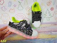 Детские кроссовки 35 размер адидасы светящиеся с подсветкой Led черные