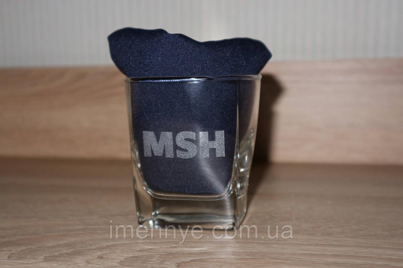 Сувенирный стеклянный стакан виски с нанисением надписи
