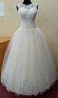 65.4 Белое свадебное платье-маечка с ручной вышивкой и кружевом, размер 42