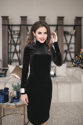 Бархатное черное платье, фото 2