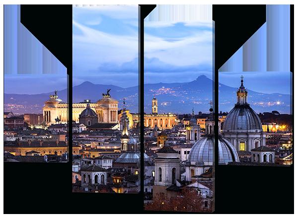 Модульная картина Interno Эко кожа Пейзаж города 106X77см (A377S)